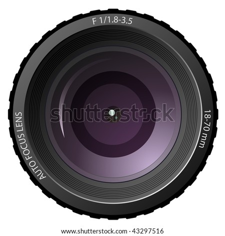 New modern digital camera lens isolated on white background.
