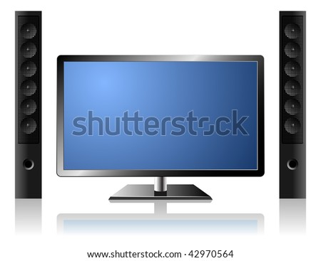 New modern flat TV set with external audio system isolated on white background. - stock vector