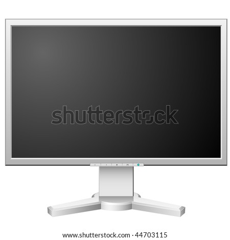 New modern white LCD monitor isolated on white background. - stock vector