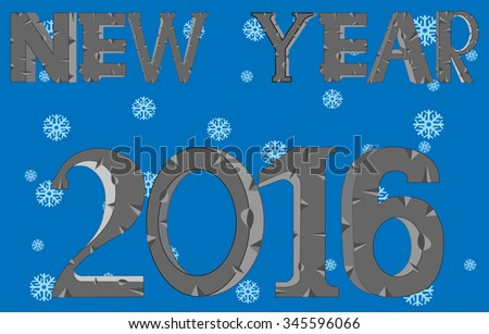 New 2016 on background snowflake
