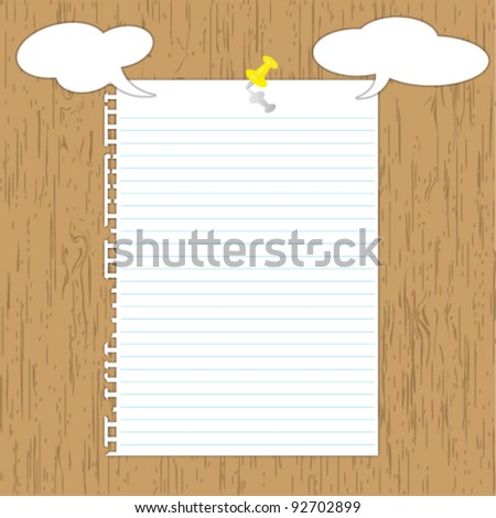 New opinion paper page with yellow pin on wooden board. - stock vector