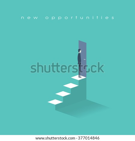New opportunities concept vector background with businessman standing in front of door on top of stairs. Career ladder conceptual illustration. Eps10 vector illustration. - stock vector