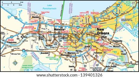 New Orleans Louisiana Area Map
