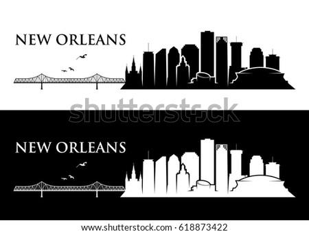 new orleans skyline louisiana vector illustration stock vector rh shutterstock com La Skyline Day New York Skyline