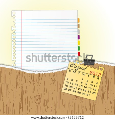 New paper sheet in rip wood folder and hold  2012 calendar August by paper clip. - stock vector