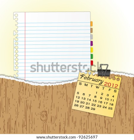 New paper sheet in rip wood folder and hold  2012 calendar February by paper clip. - stock vector