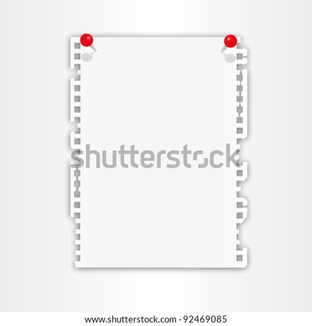 New paper sheet Is embroidered with pins. - stock vector