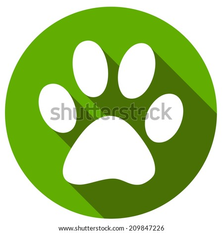 New Paw icon button flat. Vector illustration - stock vector