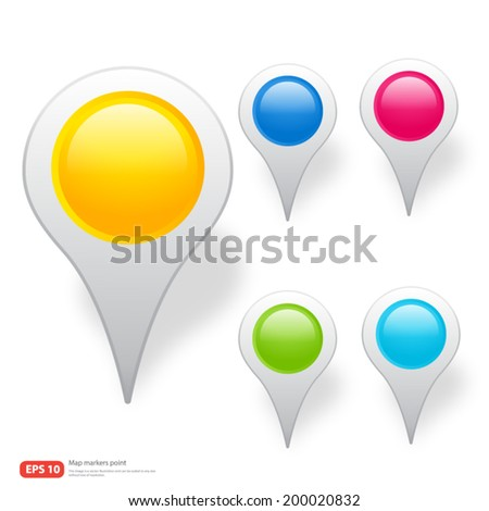 New pin point icon for map markers vector design - stock vector