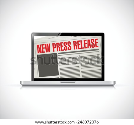 new press release computer news illustration design over a white background - stock vector