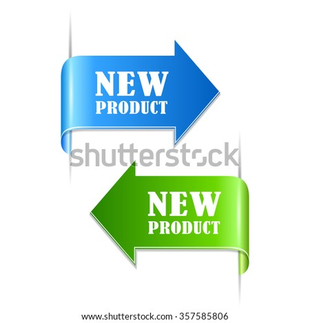 New product labels isolated on white background - stock vector