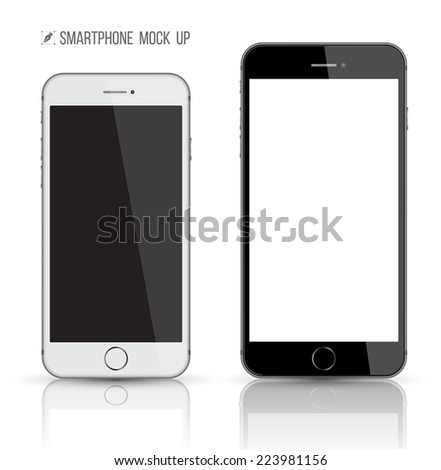 New realistic mobile phone smartphone big and small display screen. Mockups with blank screen isolated on white background. Vector illustration. Game and application mockup. - stock vector