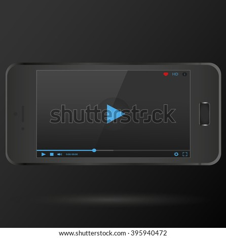 New realistic mobile phone smartphone. Modern smart phone with video, audio player isolated at black background. Vector illustration.