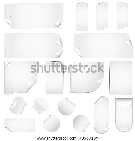 new realistic vector stickers with peeling corners - stock vector