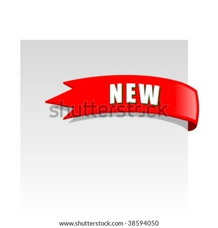 New red corner business ribbon on white background - stock vector