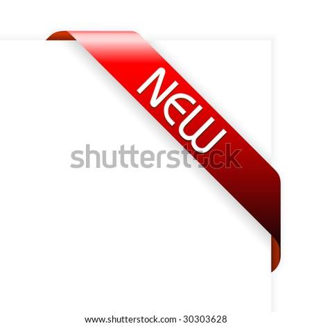 New red corner ribbon - stock vector