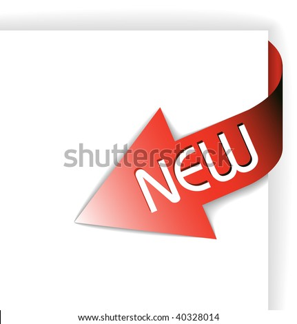 New red corner ribbon - arrow pointing at the content - stock vector