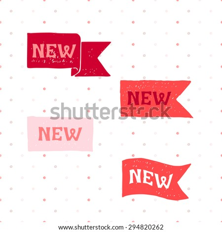 New red labels. Vector. - stock vector