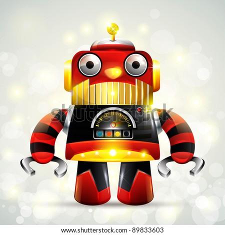New retro robot toy, Illustrator Vector - stock vector