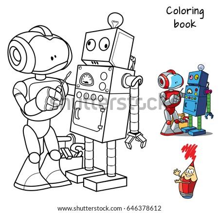 New Robot Screwdriver Repairs Obsolete Broken Stock Vector ...