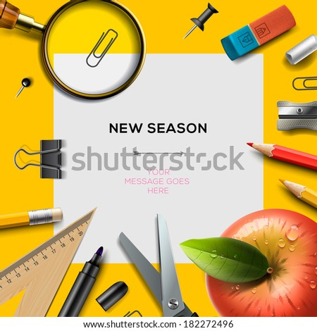 New school season invitation template with office supplies, back to school background, vector illustration.  - stock vector