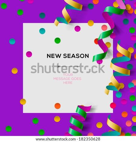 New season invitation template party confetti stock vector new season invitation template with party confetti office party vector illustration stopboris Gallery