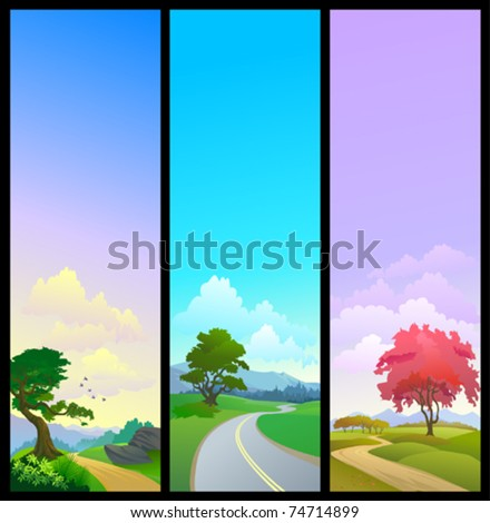 NEW - SET OF 3 NATURE BANNERS , ROAD TREE AND OPEN SKY - stock vector