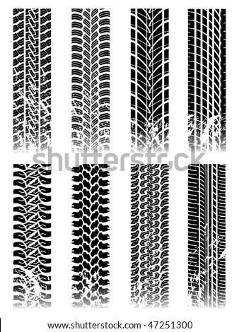 New set of tire tracks - stock vector