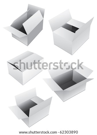 New set of vector boxes - stock vector