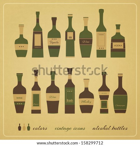 new set of vintage style icons of alcohol bottles can use like menu design elements - stock vector