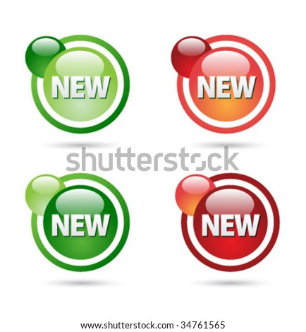 New sign label design - stock vector