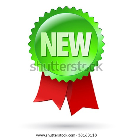 New sign label design with tape - stock vector
