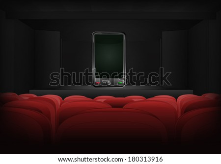 new smart phone on the stage in theater interior vector illustration - stock vector