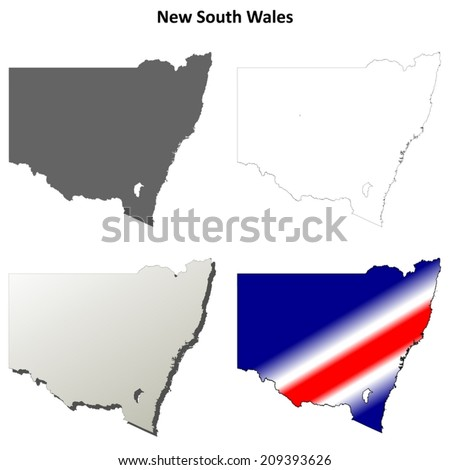 New South Wales blank detailed outline map set - vector version - stock vector