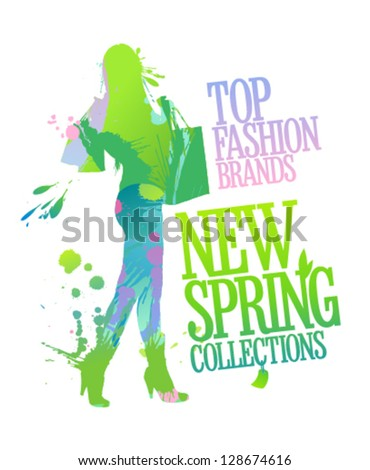 New spring collections design template with shopping woman silhouette and splashes. - stock vector