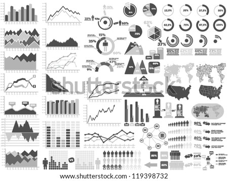 NEW STYLE WEB ELEMENTS INFOGRAPHIC DEMOGRAPHIC GRAY - stock vector