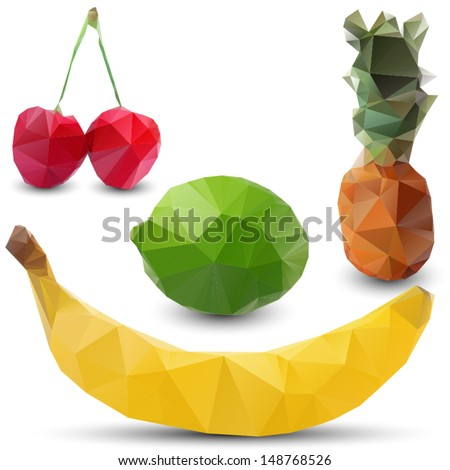 new stylized geometric fruits - stock vector