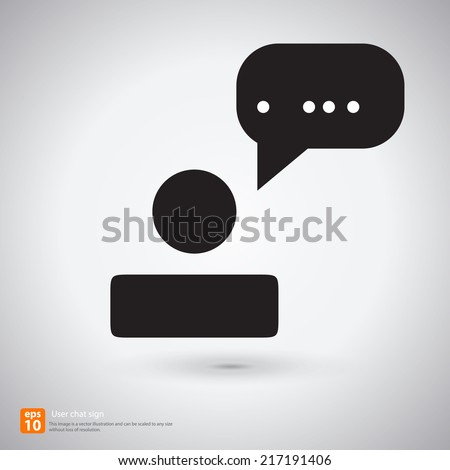 New User chat sign with shadow vector icon design - stock vector