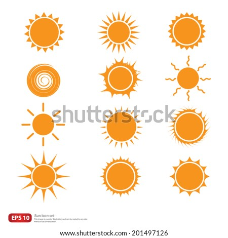 New vector Orange Sun symbols icon set