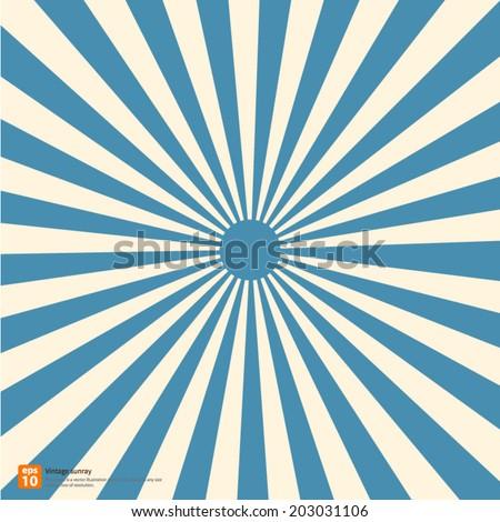 New vector Vintage blue rising sun or sun ray,sun burst retro design - stock vector