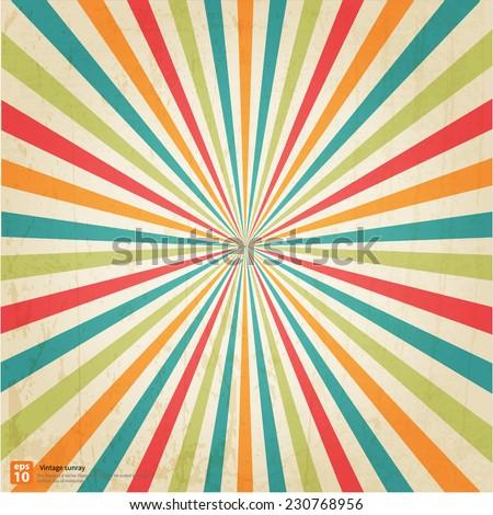 New vector Vintage Festival rising sun or sun ray,sun burst retro background design - stock vector