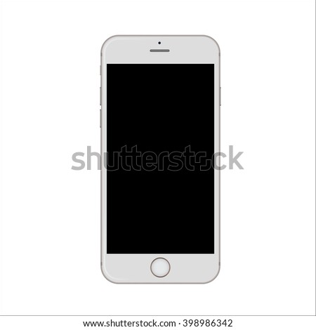 New version of white slim smartphone similar to iphone with blank white screen. - stock vector