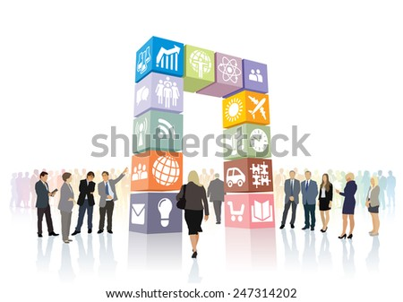 New web portal is open to the colorful crowd of people, gate of icons and signs. - stock vector