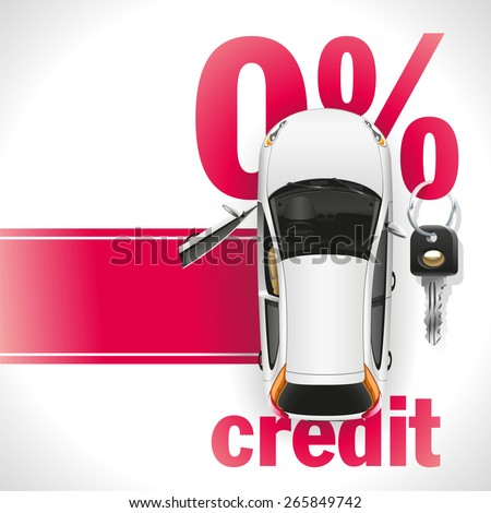 New white car with open front door standing on the red carpet. Against the background of a red font written zero interest rate on the loan. On the percent symbol hanging black ignition key. - stock vector