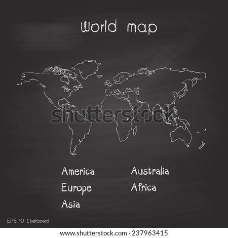 New world map chalkboard background vector stock vector 237963415 new world map chalkboard background vector design gumiabroncs Images