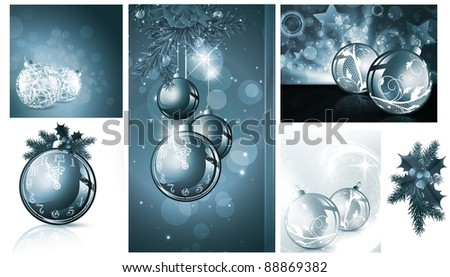 New year and Christmas backgrounds collection - stock vector