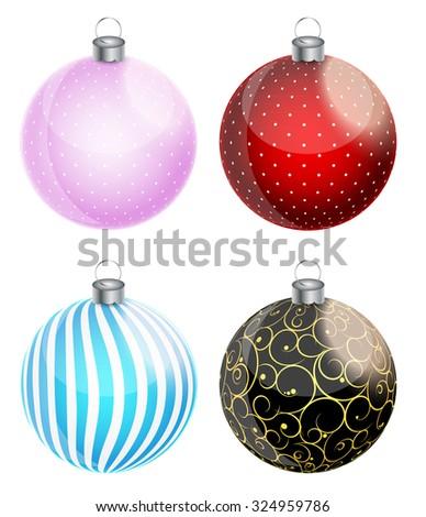 New Year and Christmas Balls Set Vector Illustration EPS10 - stock vector
