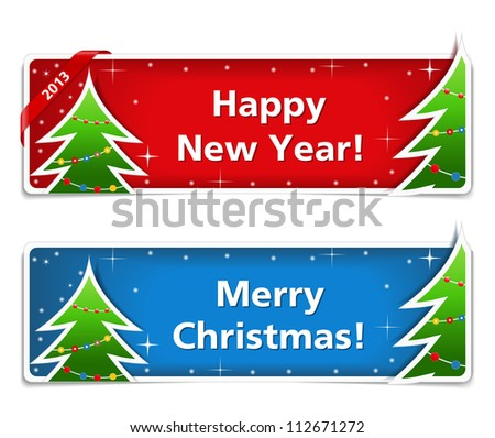 New year and Christmas banners, vector eps10 illustration - stock vector