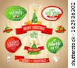 New year and Christmas designs collection in retro style.  Eps10. - stock photo