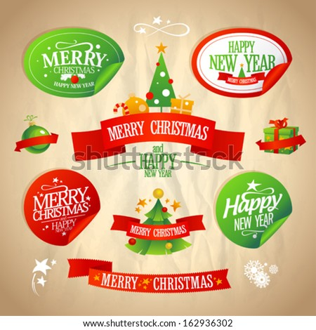 New year and Christmas designs collection in retro style.  Eps10. - stock vector